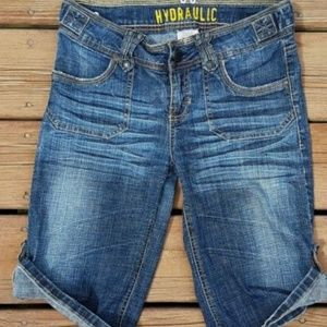 Hydraulic Distressed Stretch Denim Bermuda Shorts